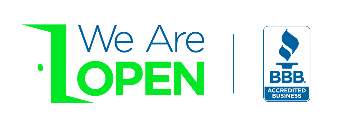 We Are Open BBB accredited